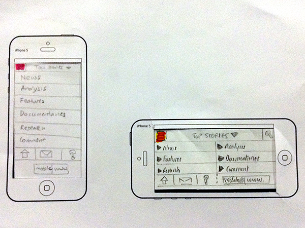 Paper prototype for iPhone 5